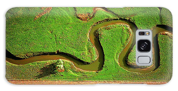 aerial, farm, stream, northern, Illinois, farms, meandering  Galaxy Case
