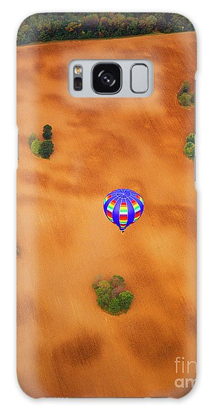Aerial Of Hot Air Balloon Above Tilled Field Fall Galaxy Case
