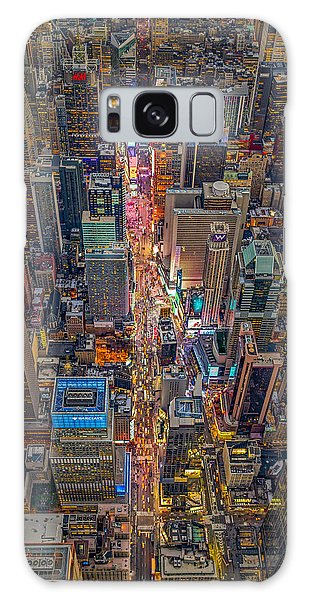 Aerial Times Square New York City  Galaxy Case by Susan Candelario