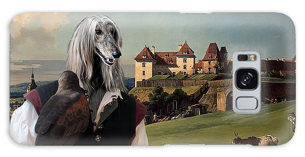 Sighthound Galaxy Case - Afghan Hound-falconer And Castle Canvas Fine Art Print by Sandra Sij