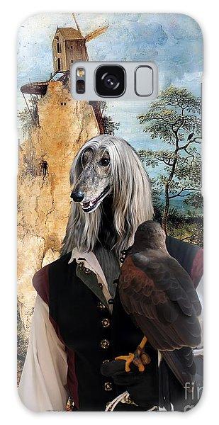 Sighthound Galaxy Case - Afghan Hound-falconer And Windmill Canvas Fine Art Print by Sandra Sij