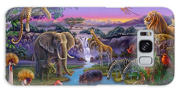 African Animals At The Water Hole Galaxy Case