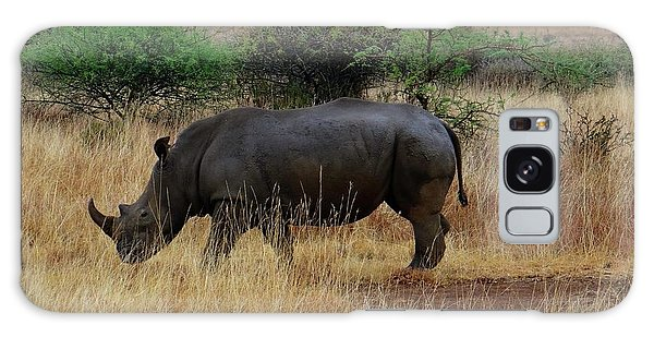 Exploramum Galaxy Case - African Animals On Safari - One Very Rare White Rhinoceros Right Angle With Background by Exploramum Exploramum