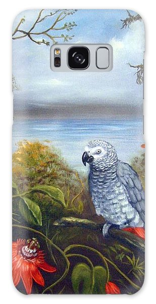 African Grey With Flowers Galaxy Case