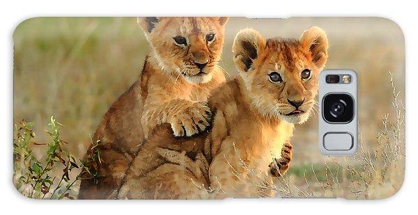 African Lion Cubs Galaxy Case by Maciek Froncisz