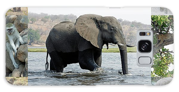 African Wildlife Montage - Elephant Galaxy Case by Robert Shard