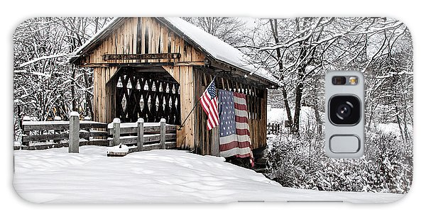 After A Winter Snow Storm Cilleyville Covered Bridge  Galaxy Case
