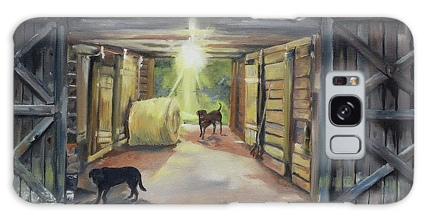 Galaxy Case featuring the painting After Hours In Pa's Barn - Barn Lights - Labs by Jan Dappen