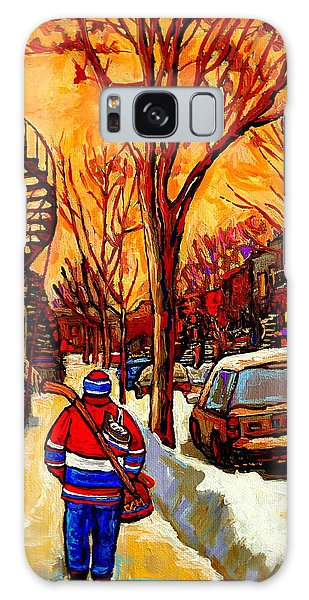 After The Hockey Game A Winter Walk At Sundown Montreal City Scene Painting  By Carole Spandau Galaxy Case