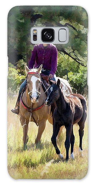 Afternoon Ride In The Sun - Cowgirl Riding Palomino Horse With Foal Galaxy Case