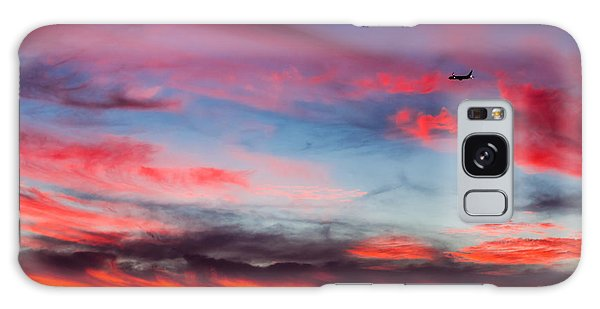 Airplane In The Sunset Galaxy Case by April Reppucci