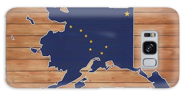 Traveler Galaxy Case - Alaska Map And Flag On Wood by Dan Sproul