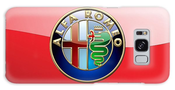 Automotive Galaxy Case - Alfa Romeo - 3d Badge On Red by Serge Averbukh