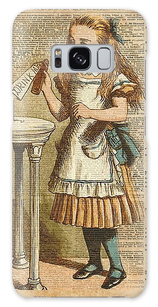 Old Galaxy Case - Alice In Wonderland Drink Me Vintage Dictionary Art Illustration by Fundacja Rozwoju Przedsiebiorczosci
