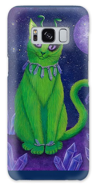 Galaxy Case featuring the painting Alien Cat by Carrie Hawks
