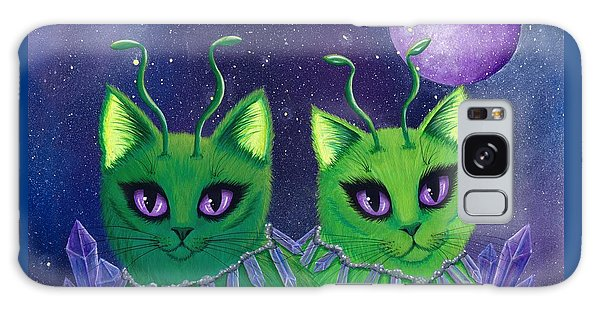 Galaxy Case featuring the painting Alien Cats by Carrie Hawks