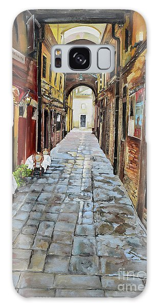 Galaxy Case featuring the painting Alley On Parangon In Venice by Jan Dappen