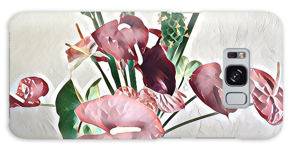 Aloha Bouquet Of The Day - Anthuriums And Green Ginger In Pale Galaxy Case