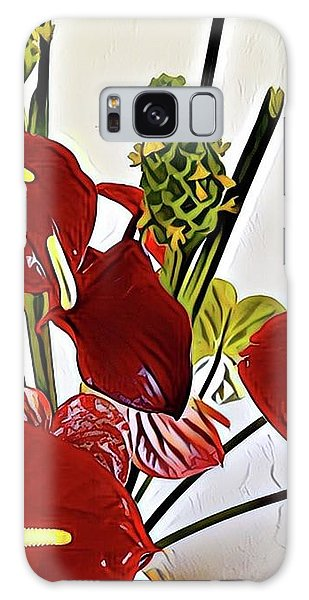 Aloha Bouquet Of The Day - Anthuriums In Darkl Red With Green Ginger - A Portion Galaxy Case