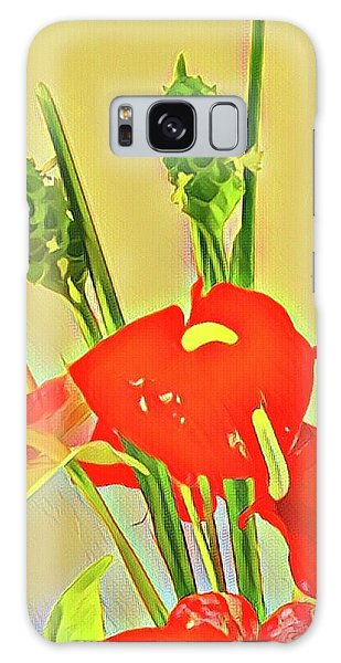 Aloha Bouquet Of The Day -- Red Anthuriums With Green Ginger, A Portion  Galaxy Case