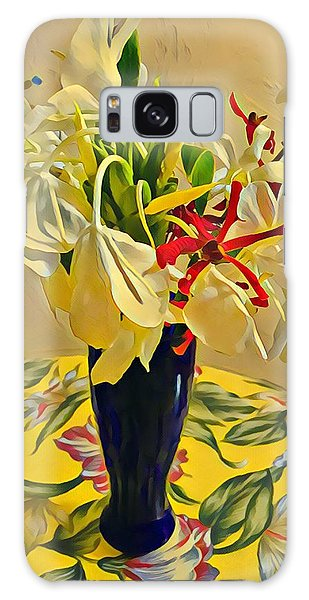 Aloha Bouquet Of The Day - White Gingert With Red Orchids - A New Hue Galaxy Case