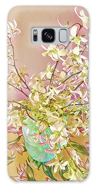 Aloha Bouquet Of The Day - White Orchids In Pink Galaxy Case