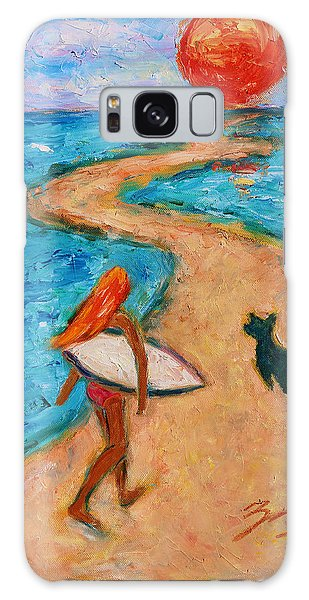 Galaxy Case featuring the painting Aloha Surfer by Xueling Zou