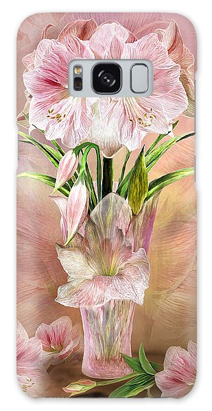 Galaxy Case featuring the mixed media Amaryllis In Amaryllis Vase by Carol Cavalaris