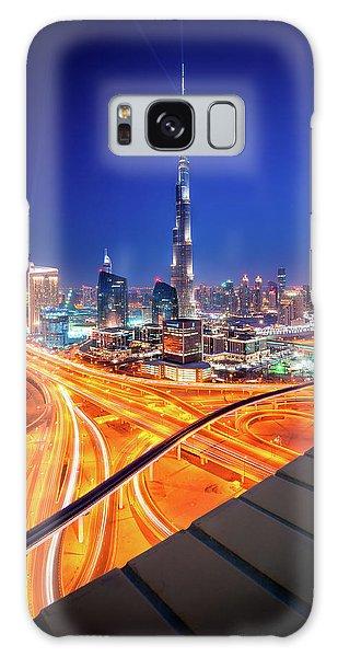 Amazing Night Dubai Downtown Skyline, Dubai, United Arab Emirates Galaxy Case