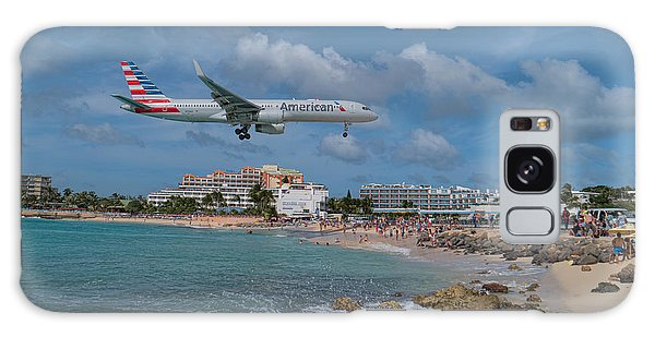 American Airlines Landing At St. Maarten Airport Galaxy Case by David Gleeson