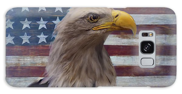 Feather Stars Galaxy Case - American Bald Eagle And American Flag by Garry Gay