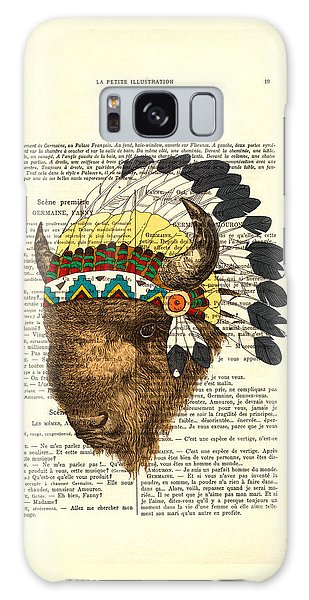 Headdress Galaxy Case - American Bison - Buffalo With Indian Headdress by Madame Memento
