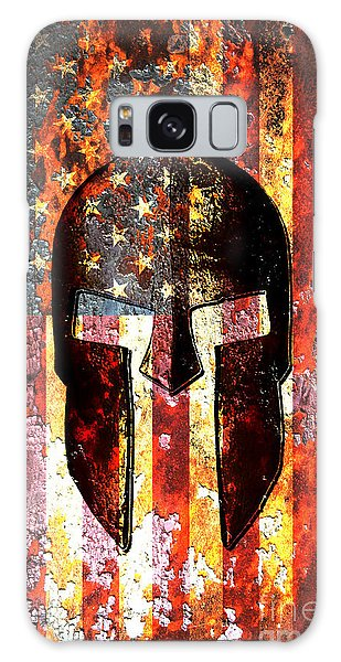 American Flag And Spartan Helmet On Rusted Metal Door - Molon Labe Galaxy Case