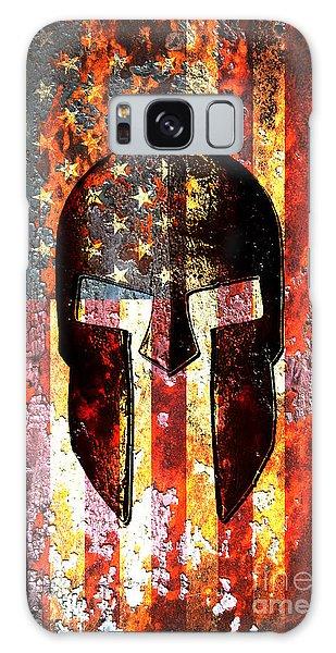 American Flag And Spartan Helmet On Rusted Metal Door - Molon Labe Galaxy Case
