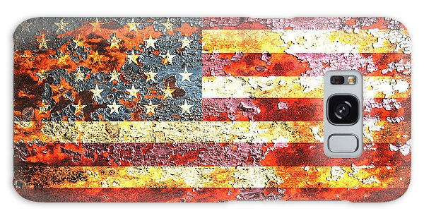 American Flag On Rusted Riveted Metal Door Galaxy Case