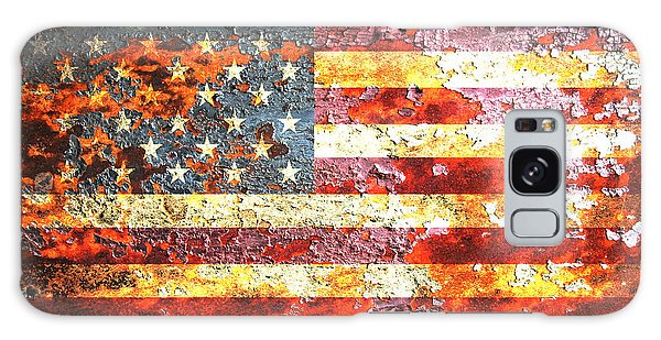 American Flag On Rusted Riveted Metal Door Galaxy Case