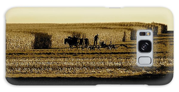 Amish Cornfield In Shadows Galaxy Case