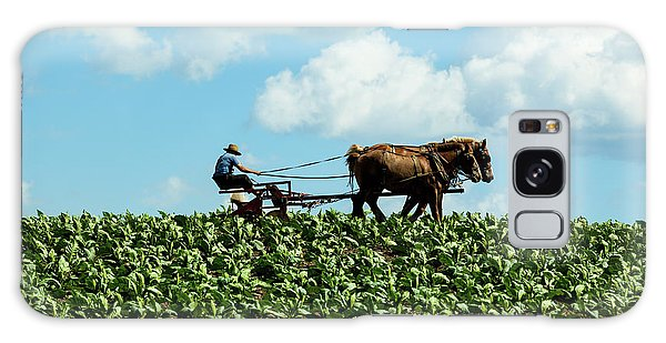 Amish Farmer With Horses In Tobacco Field Galaxy Case