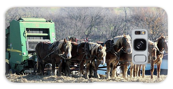 Amish Haymaker In Lancaster County, Pennsylvania Galaxy Case