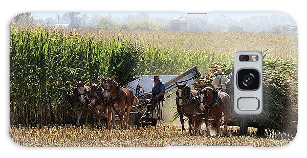 Amish Men Harvesting Corn Galaxy Case