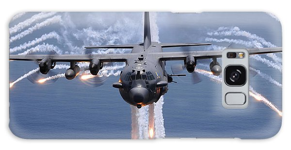 Galaxy Case featuring the photograph An Ac-130h Gunship Aircraft Jettisons by Stocktrek Images