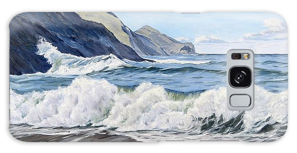 Galaxy Case featuring the painting An April Morning At Crackington Haven by Lawrence Dyer