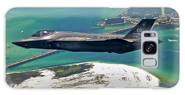 Galaxy Case featuring the photograph An F-35 Lightning II Flies Over Destin by Stocktrek Images