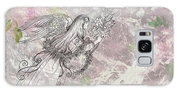 Angel On Pink And Green Florals Galaxy Case