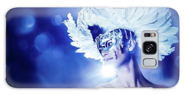 Galaxy Case featuring the photograph Angel Wings Venetian Mask With Feathers Portrait by Dimitar Hristov