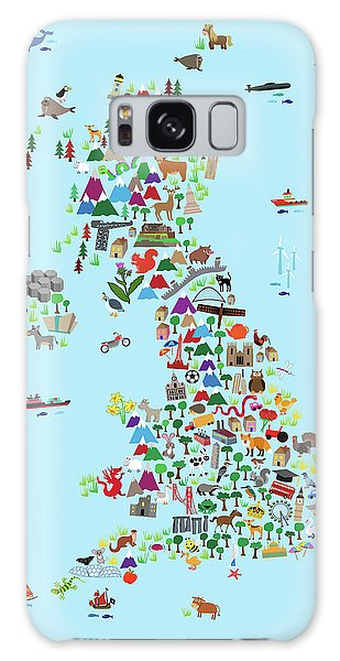 England Galaxy Case - Animal Map Of Great Britain And Ni For Children And Kids by Michael Tompsett
