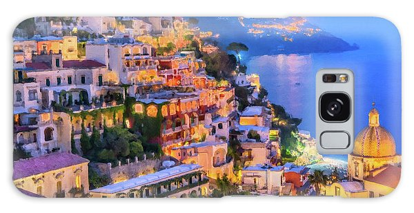 Galaxy Case featuring the digital art Another Glowing Evening In Positano by Rosario Piazza