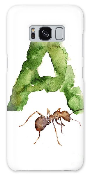 Ant Galaxy S8 Case - Ant Watercolor Alphabet Painting by Joanna Szmerdt