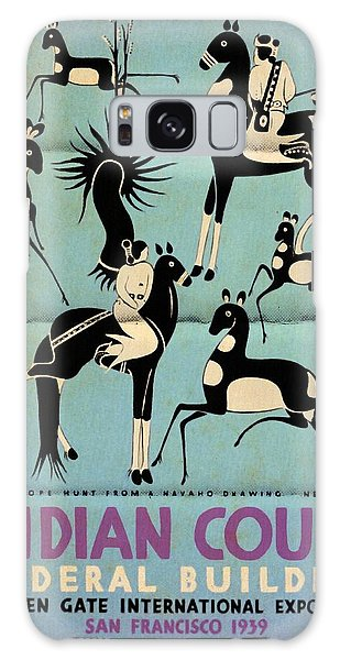 Antelope Hunt From A Navaho Drawing Exhibition - Vintage Poster Folded Galaxy Case