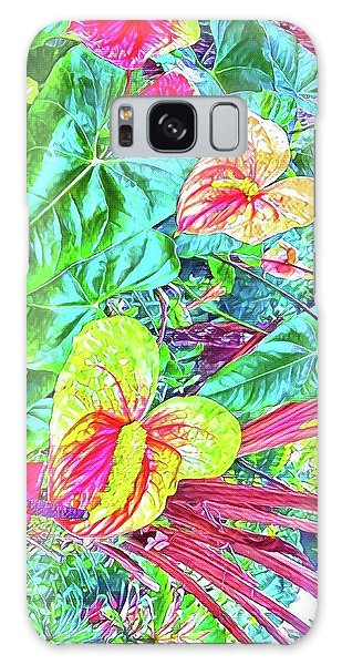 Anthuriums Pink And Turquoise Galaxy Case